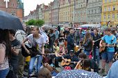 WROCLAW - MAY 1:  The fans of guitar music will gather together to play  Hey Joe  at the