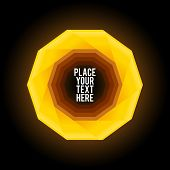 Yellow decagon shape on dark background