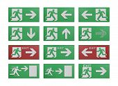 Paper Cut Of Run To Exit Label For Emergency With Escape Sign From Fire