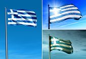 Greece Flag Waving On The Wind
