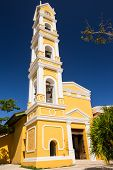picture of playa del carmen  - Beautiful old Spanish church and bell tower near Playa del Carmen Mexico - JPG