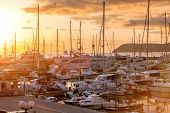 Yacht marina at sunset. Montenegro.