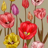 seamless pattern with red and pink tulip flowers