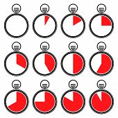 Set of timers or chronometers icons. Vector.