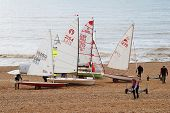 ST.LEONARDS-ON-SEA, ENGLAND - MARCH 23, 2014: Sailing dinghies of the Hastings and St.Leonards Saili