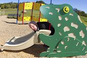 Exhausted Businessman in Frog Slide