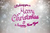Merry christmas message against grey design with white stars