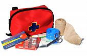 stock photo of first aid  - First Aid Kit with content - JPG