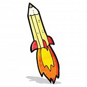 cartoon rocket pencil