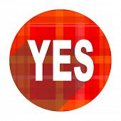 yes red flat icon isolated