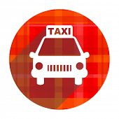 taxi red flat icon isolated