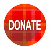 donate red flat icon isolated