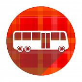 bus red flat icon isolated