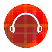 headphones red flat icon isolated
