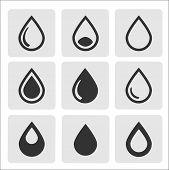 Vector black drop icons