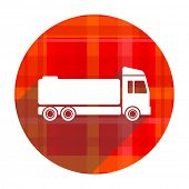 truck red flat icon isolated