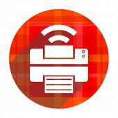 printer red flat icon isolated