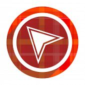 navigation red flat icon isolated