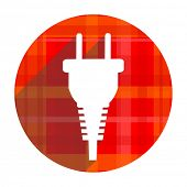 plug red flat icon isolated