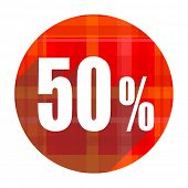 50 percent red flat icon isolated