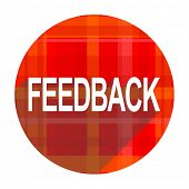feedback red flat icon isolated