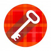 key red flat icon isolated