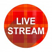 live stream red flat icon isolated