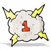 cartoon thunder cloud with number 1