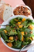 Spinach Salad With Pecans, Peaches And Fresh Bread