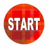 start red flat icon isolated