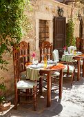 Interior of open air restaurant in Crete