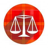 justice red flat icon isolated