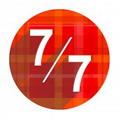 7 per 7 red flat icon isolated