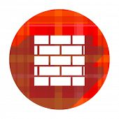 firewall red flat icon isolated