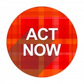 act now red flat icon isolated