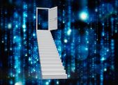 Stairs leading to door against digitally generated black and blue matrix
