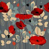 Poppy flowers seamless pattern over grey