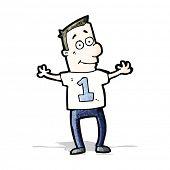 cartoon man in shirt number one