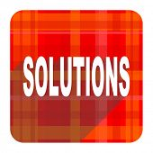 solutions red flat icon isolated