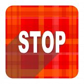 stop red flat icon isolated