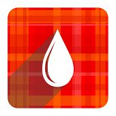 water drop red flat icon isolated