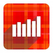 graph red flat icon isolated
