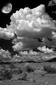 pic of thunderhead  - Desert moon over the southwestern USA desert and mountains - JPG