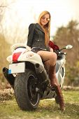 Beautiful Woman On Motorcycle