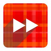 rewind red flat icon isolated