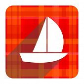 yacht red flat icon isolated