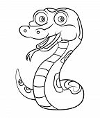 stock photo of anaconda  - Snake Cartoon Editable  - JPG