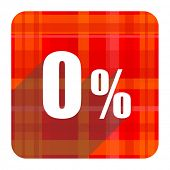 0 percent red flat icon isolated
