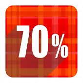 70 percent red flat icon isolated