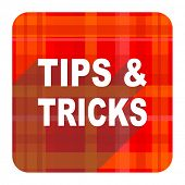 tips tricks red flat icon isolated
